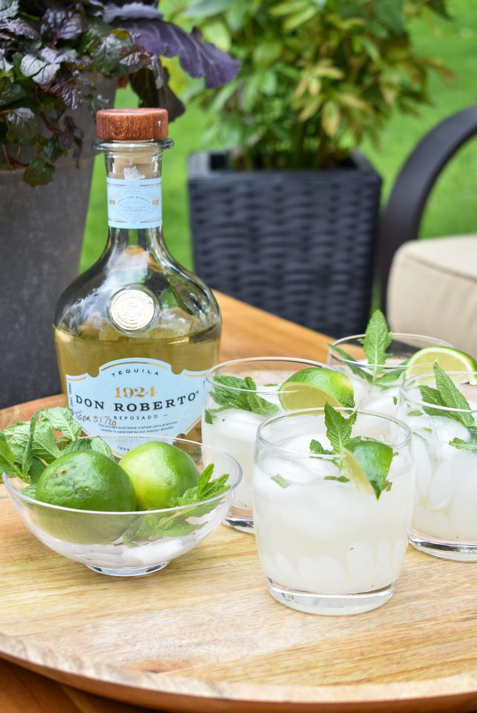 Lime and Mint Tequila Spritzer on a tray