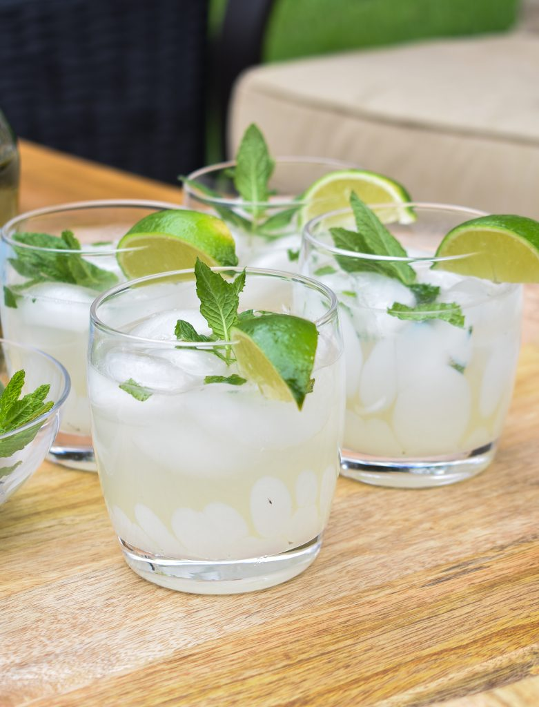 Close-up of a Lime and Mint Tequila Spritzer