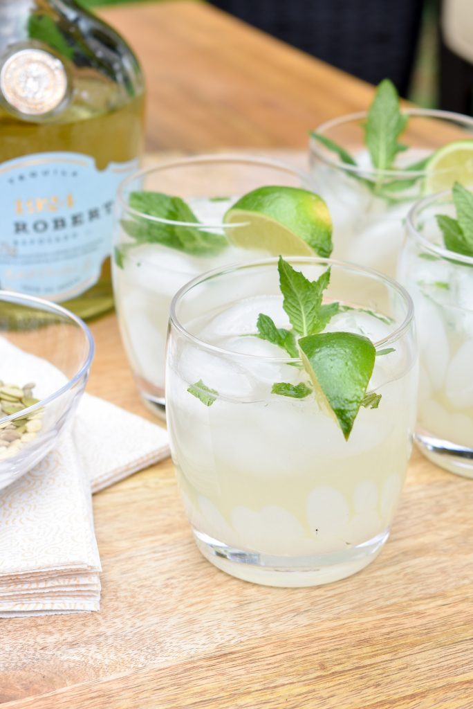 A Lime and Mint Tequila Spritzer on a tray