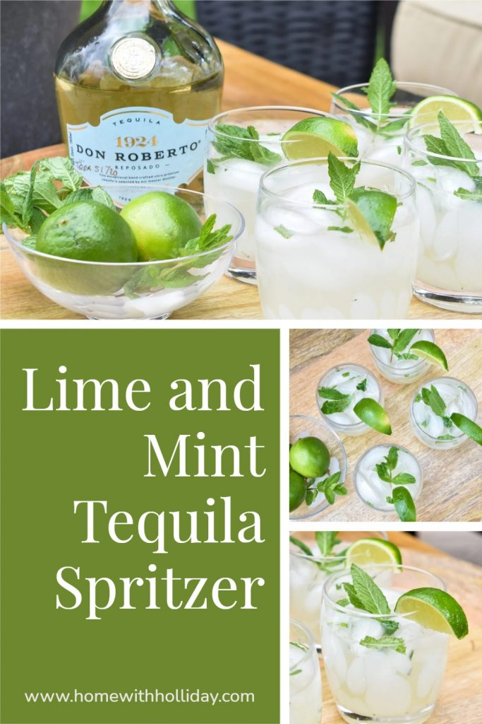 A collage of a Lime and Mint Tequila Spritzer