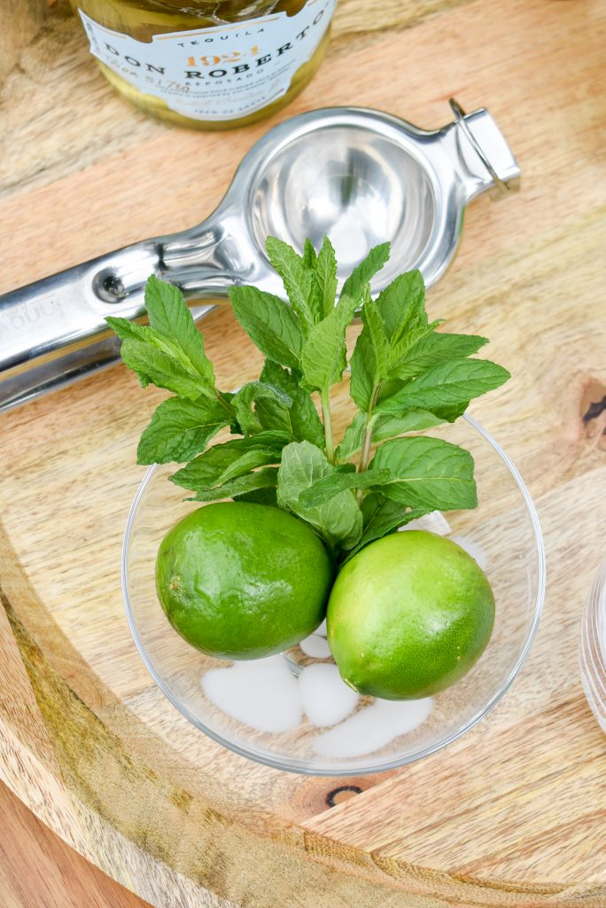 A bowl of lime and mint to make a Lime and Mint Tequila Spritzer