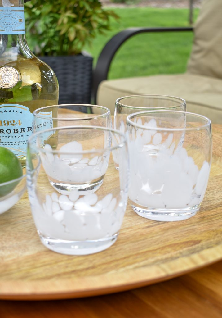 Denby Pottery Cocktail Glasses for a Lime and Mint Tequila Spritzer