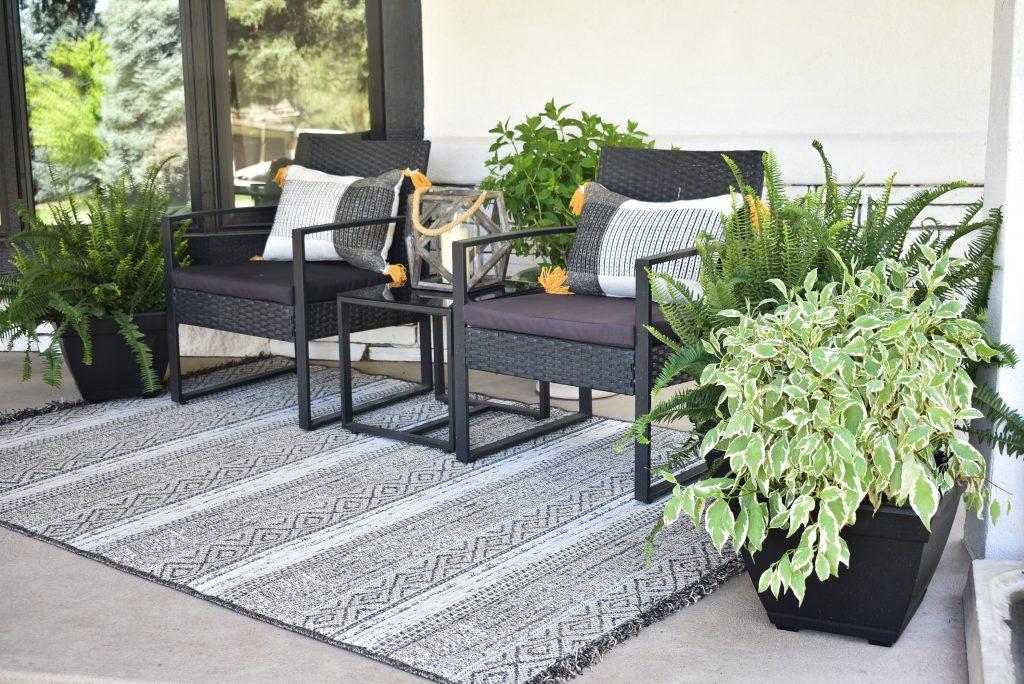 A conversation area on a front porch