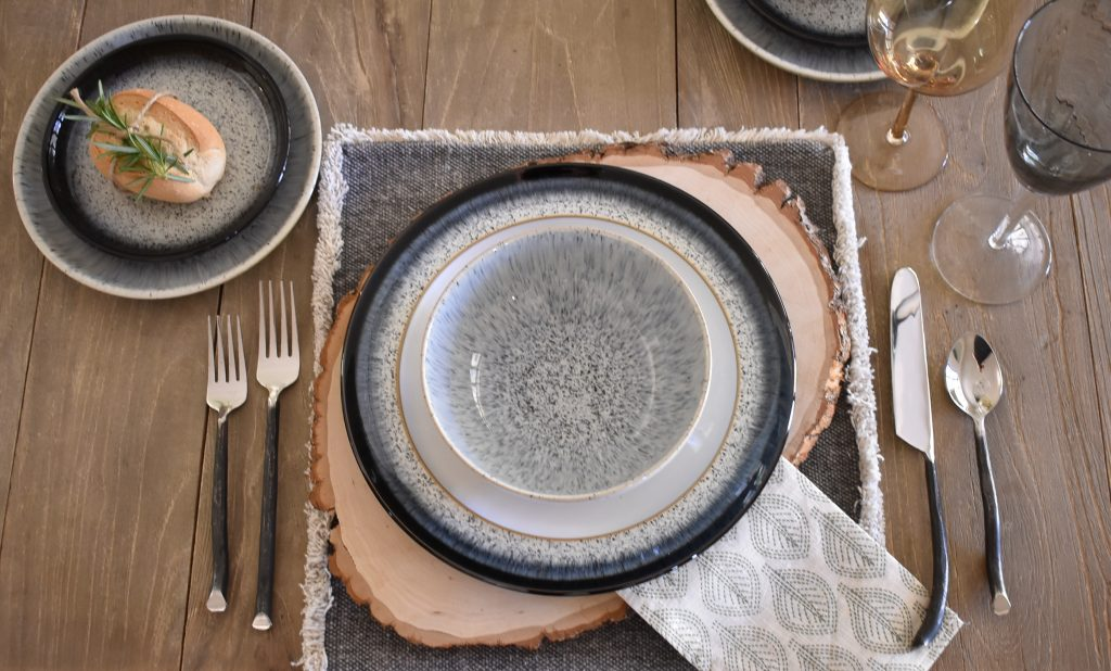Place Setting on a Sophisticated Father's Day Table with Herb Centerpieces