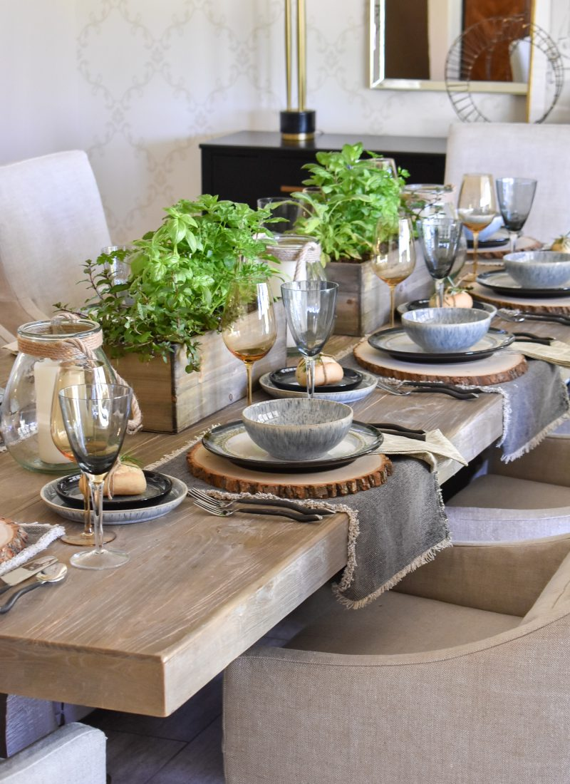 Sophisticated Father's Day Table with Herb Centerpieces in a dining room