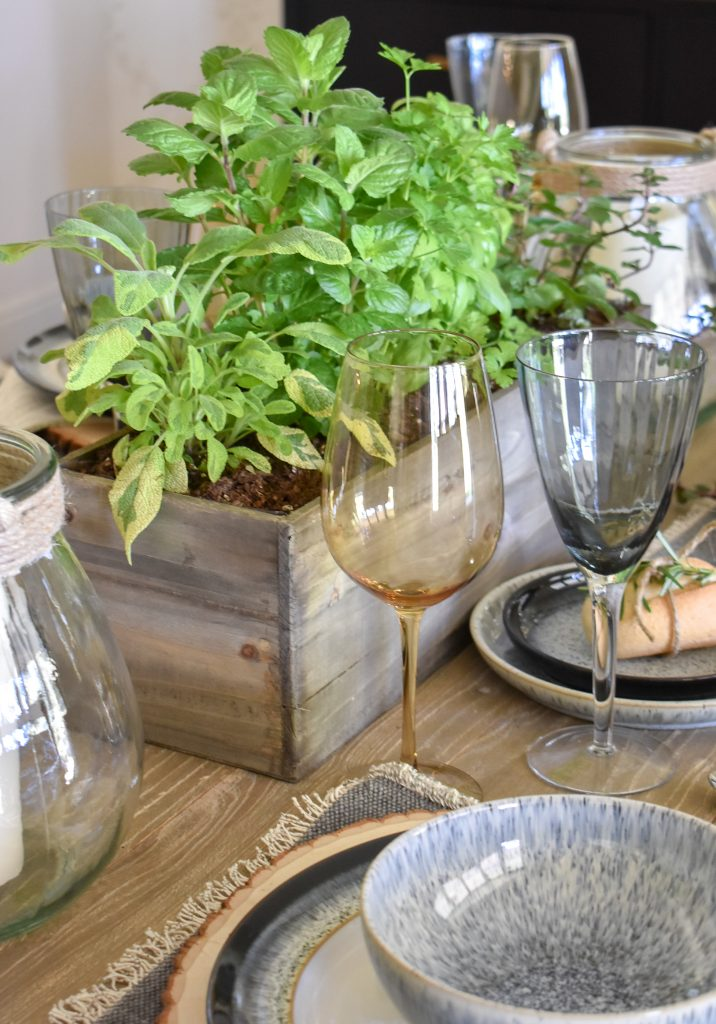 Herb Centerpiece on Table Setting for Father's Day