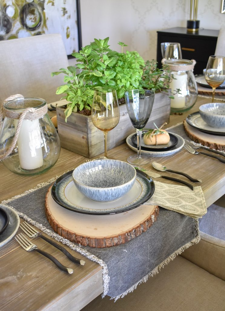 Side view of a Sophisticated Father's Day Table with Herb Centerpieces