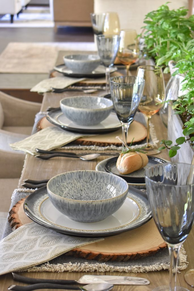 Place Settings on a Sophisticated Father's Day Table with Herb Centerpieces