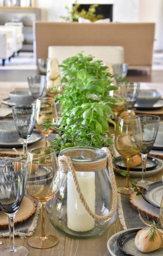 A Sophisticated Father's Day Table with Herb Centerpieces