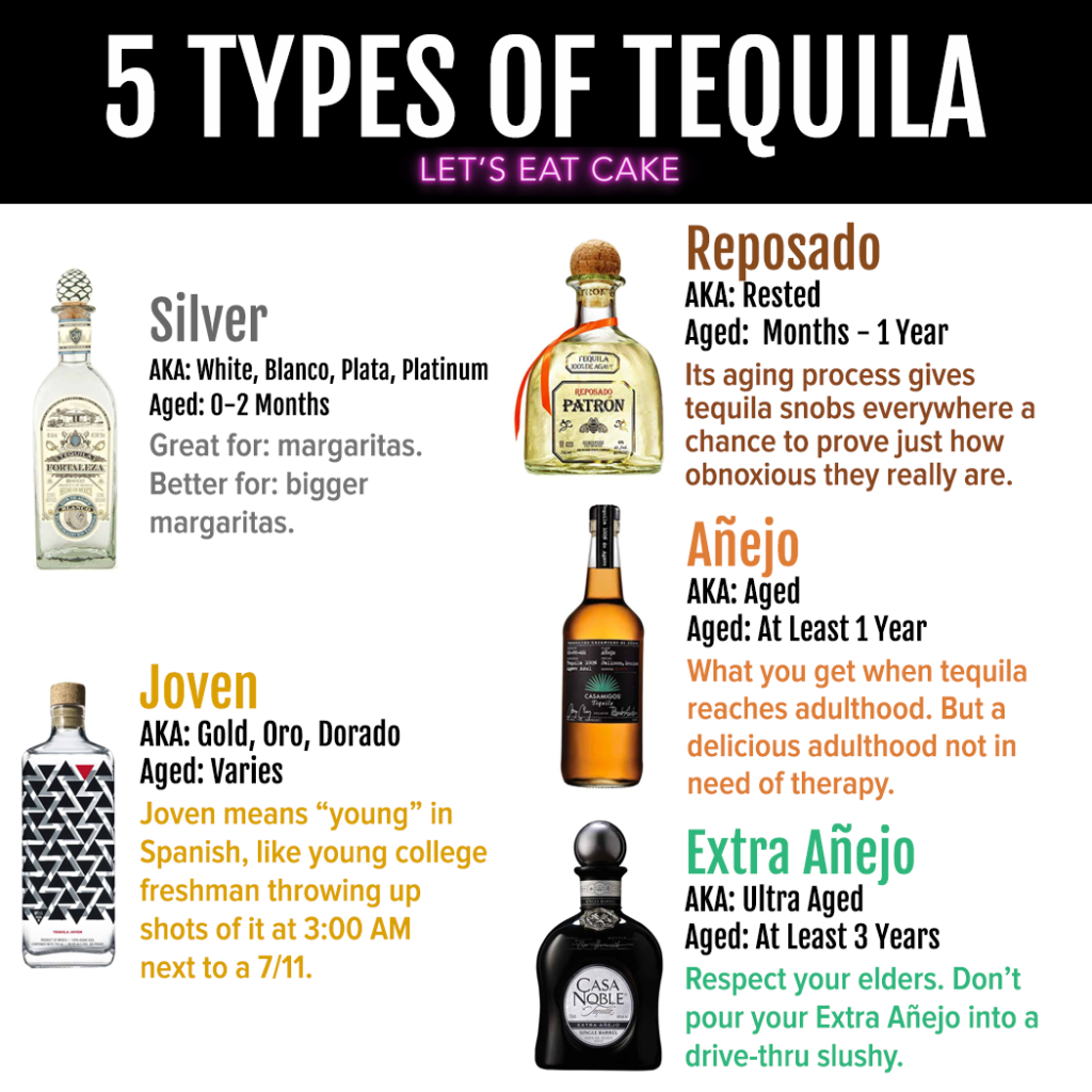 A chart describing the 5 Types of Tequila