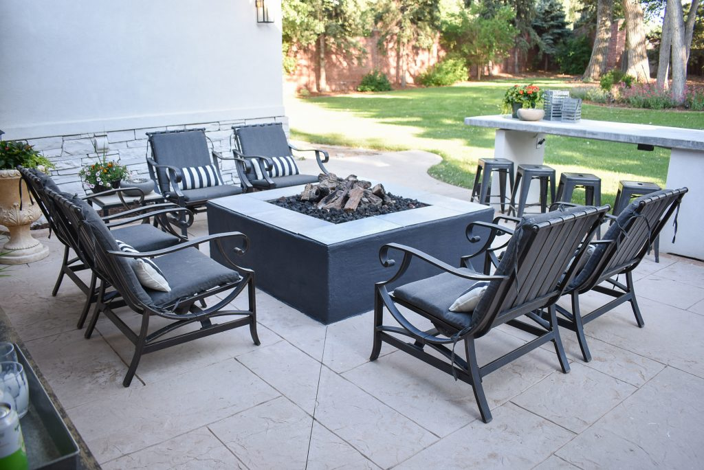 Fire pit area on a back patio
