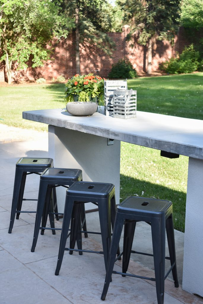 Kitchen Island on a back Patio Reveal