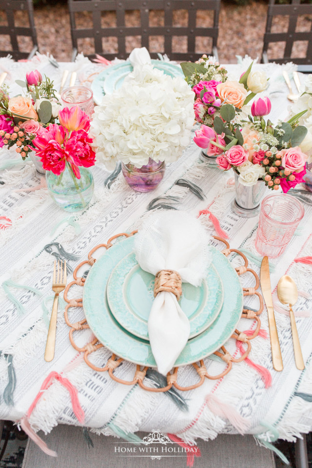 The place setting on a  Colorful Summer Alfresco Dining Tablescape