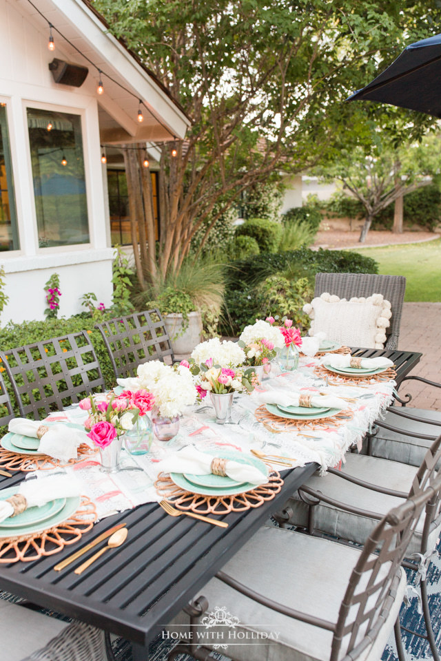 A Colorful Summer Alfresco Dining Tablescape on a patio