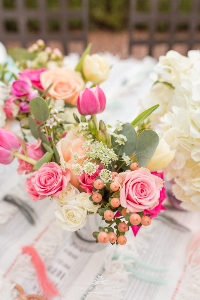 The flowers for a Colorful Summer Alfresco Dining Tablescape