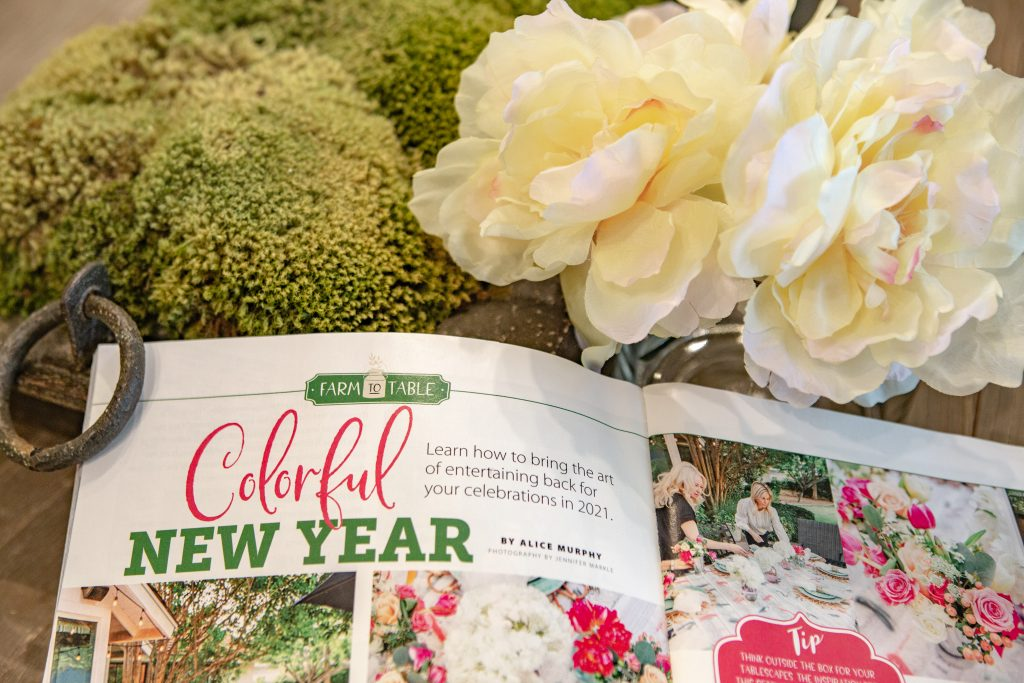 A Magazine Feature of a  Colorful Summer Alfresco Dining Tablescape