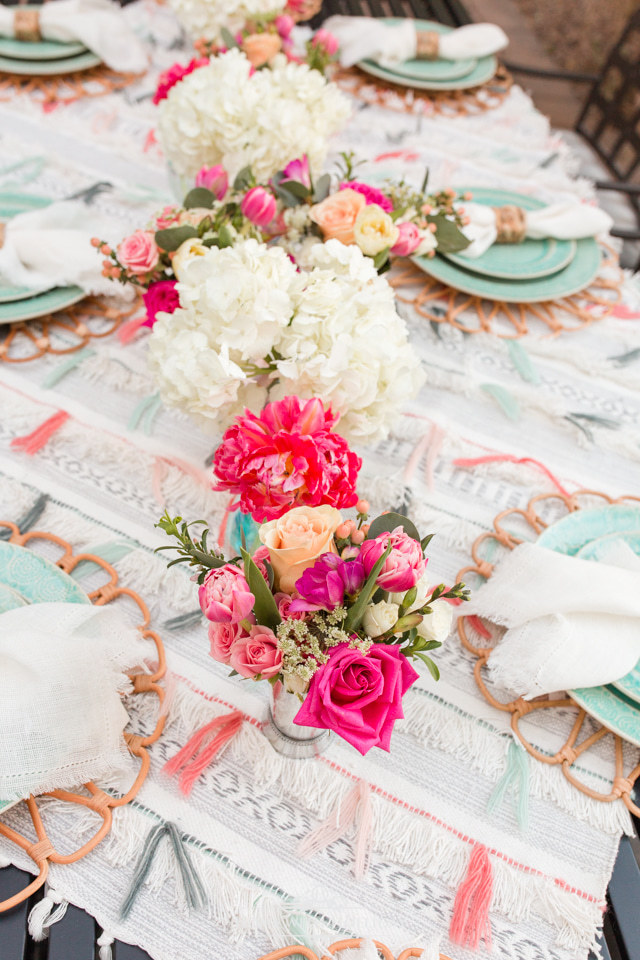 Flowers on a  Colorful Summer Alfresco Dining Tablescape