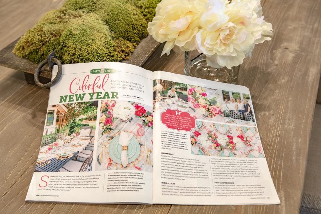 A spread of a A Colorful Summer Alfresco Dining Tablescape in a magazine feature