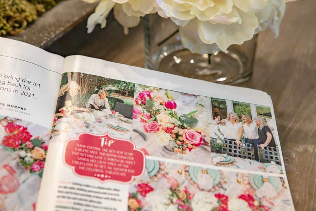 A spread of a Colorful Summer Alfresco Dining Tablescape featured in American Farmhouse Style Magazine