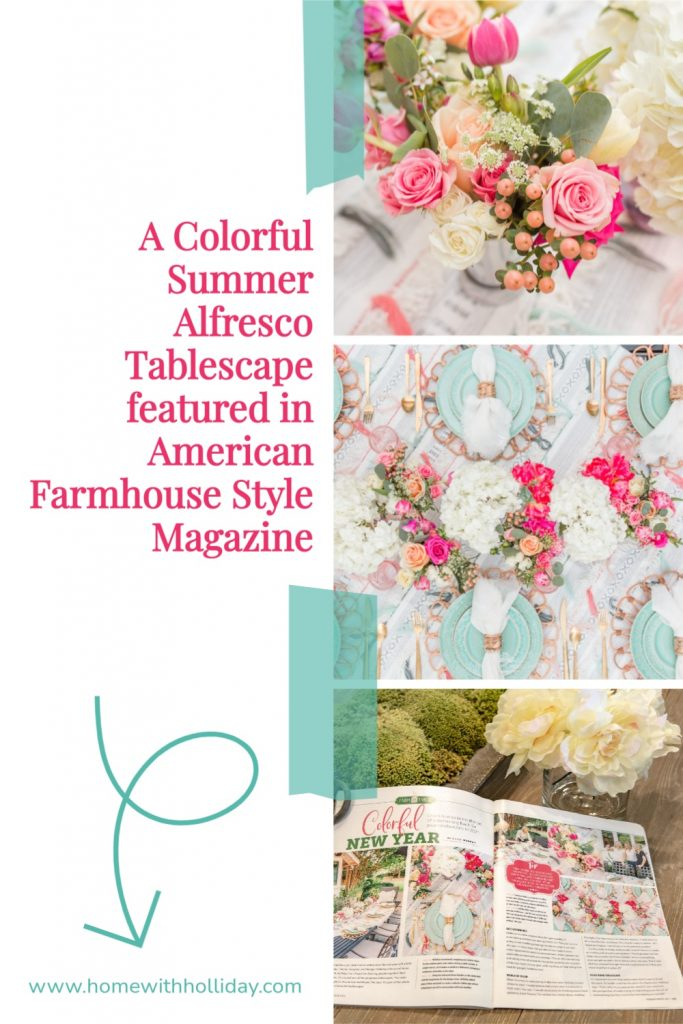 A Collage of a Colorful Summer Alfresco Tablescape featured in American Farmhouse Style Magazine