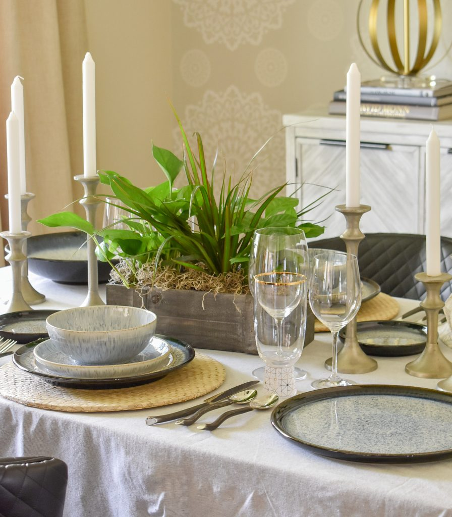 A Casual and Romantic Tablescape for Two with natural greenery