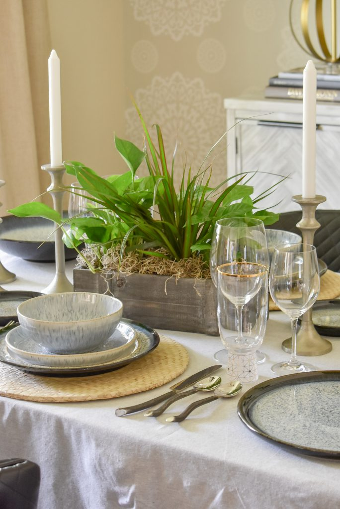 The Centerpiece on a Casual and Romantic Tablescape for Two