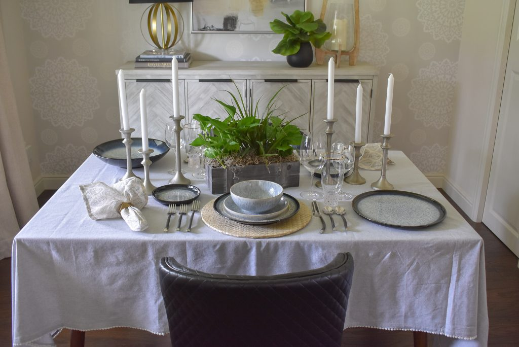 A view of a Casual and Romantic Tablescape for Two