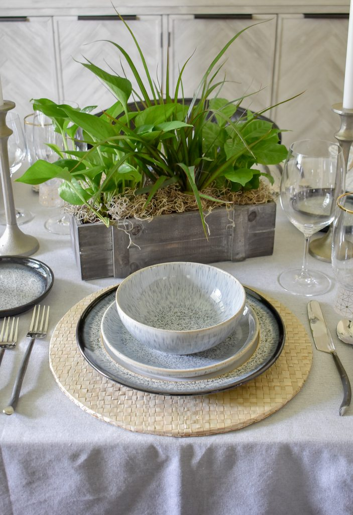 A natural greenery centerpiece on A Casual and Romantic Tablescape for Two