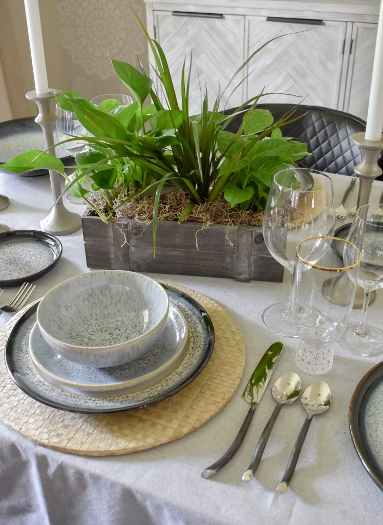 A Casual and Romantic Tablescape for Two with a natural greenery