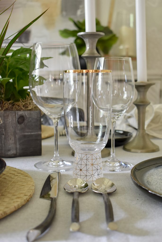 The glassware of A Casual and Romantic Tablescape for Two