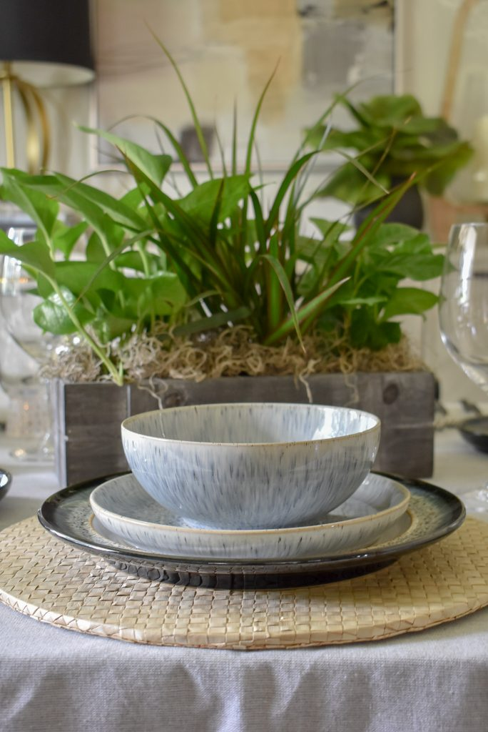 The dinnerware of a Casual and Romantic Tablescape for Two