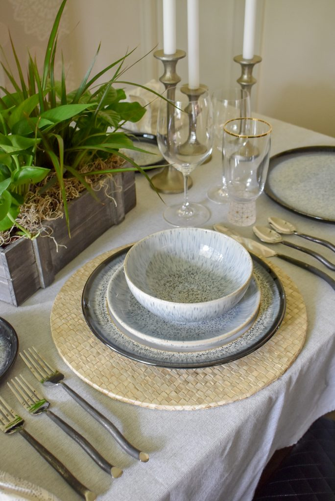 The place settings on a Casual and Romantic Tablescape for Two