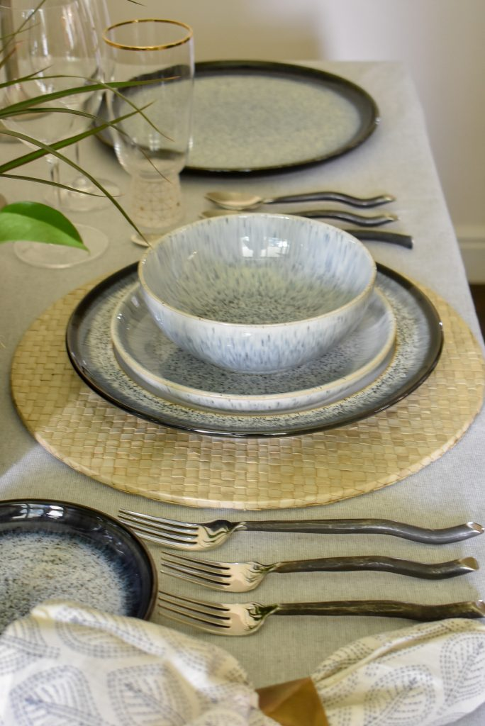 The place setting on a Casual and Romantic Tablescape for Two
