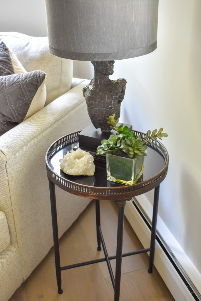 Side table in a Classic Contemporary Master Bedroom Reveal