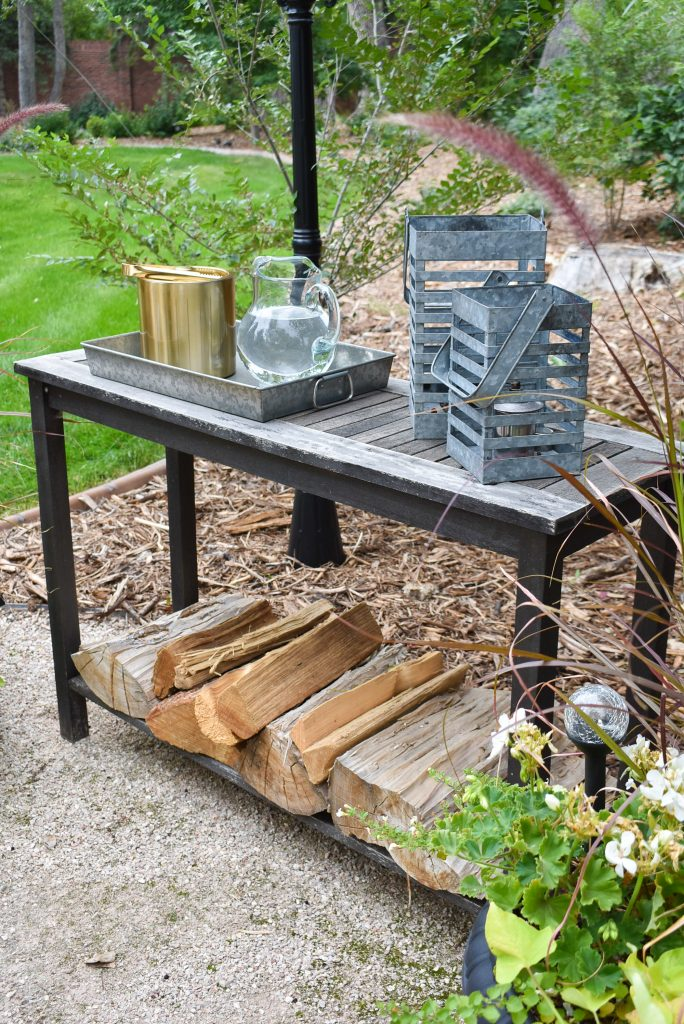 Side table on a New Cozy Firepit Area for Fall