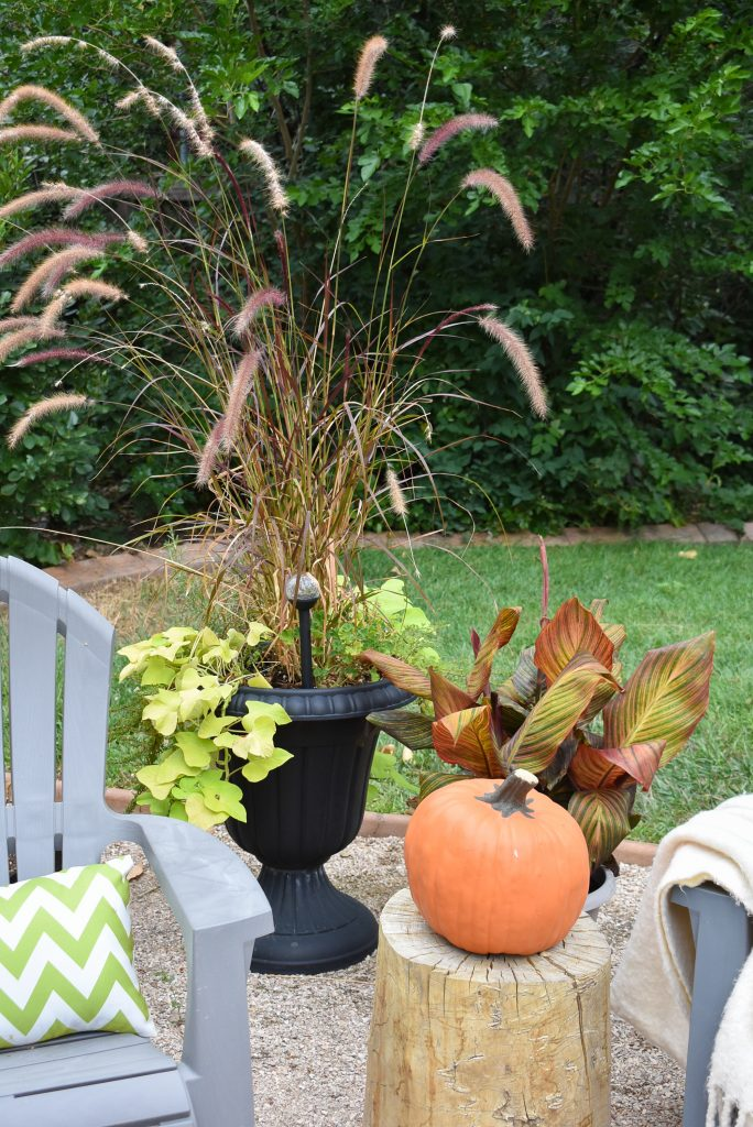 Pumpkins on a New Cozy Firepit Area for Fall