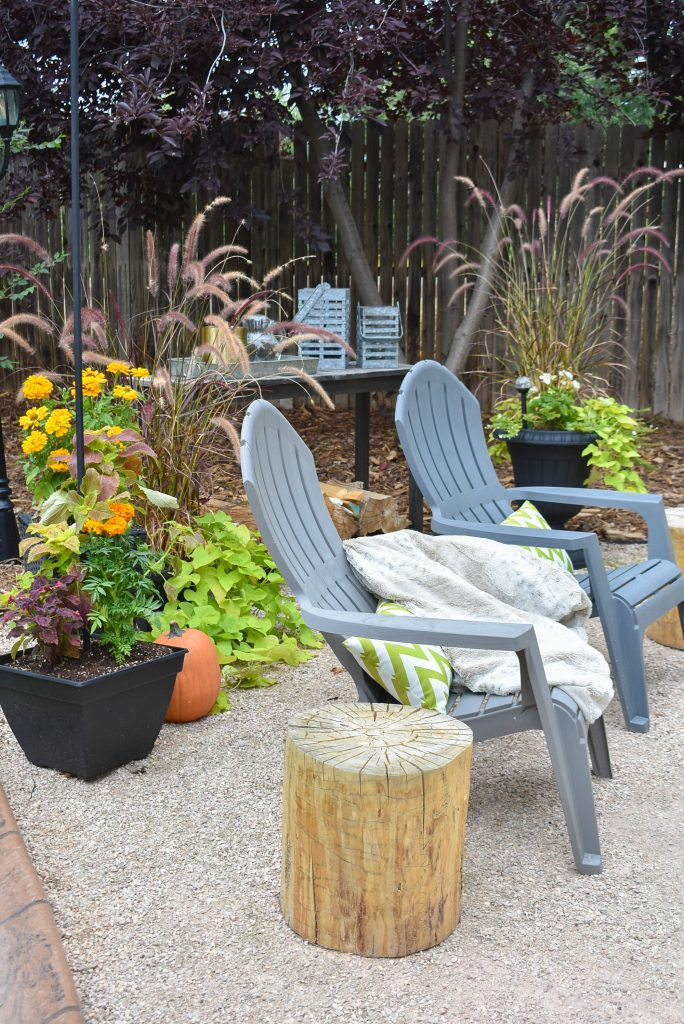 Wood Side Tables on a New Cozy Firepit Area for Fall