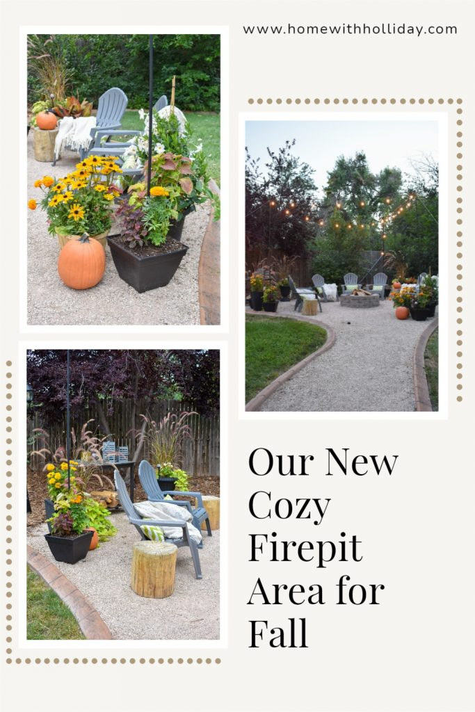A collage of Our New Cozy Firepit Area for Fall