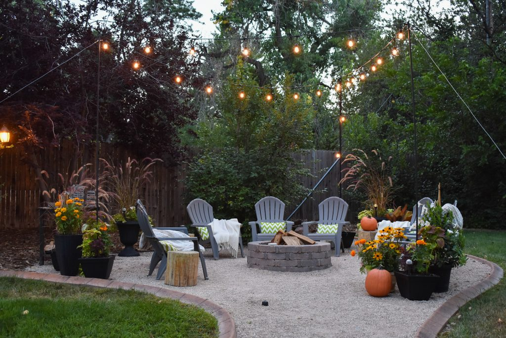 Our New Cozy Firepit Area for Fall at Dusk