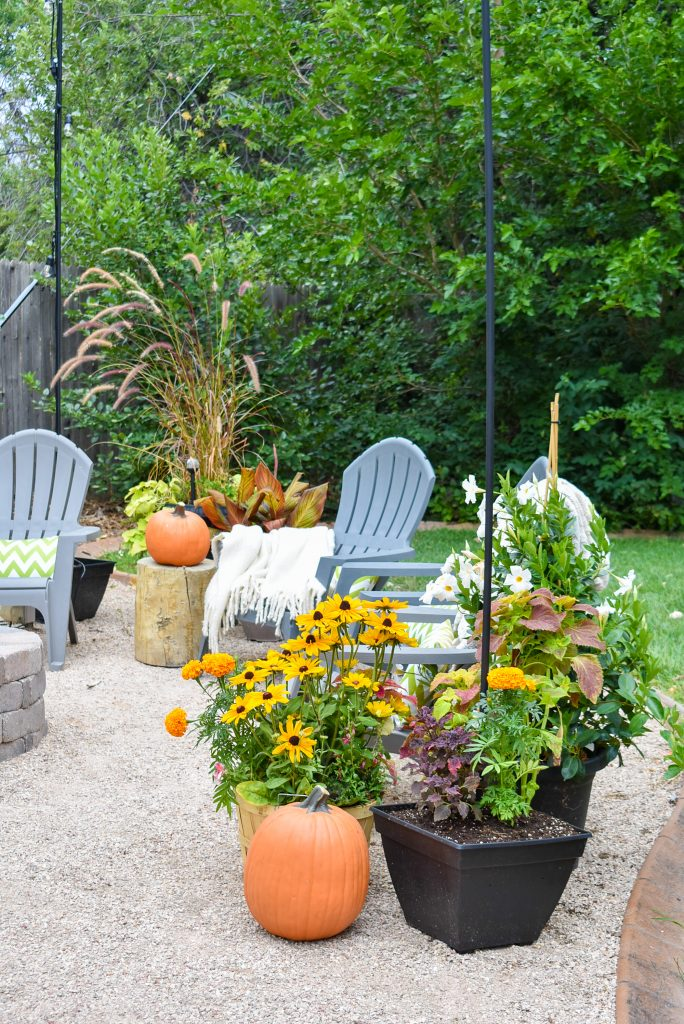 Container Plantings on Our New Cozy Firepit Area for Fall