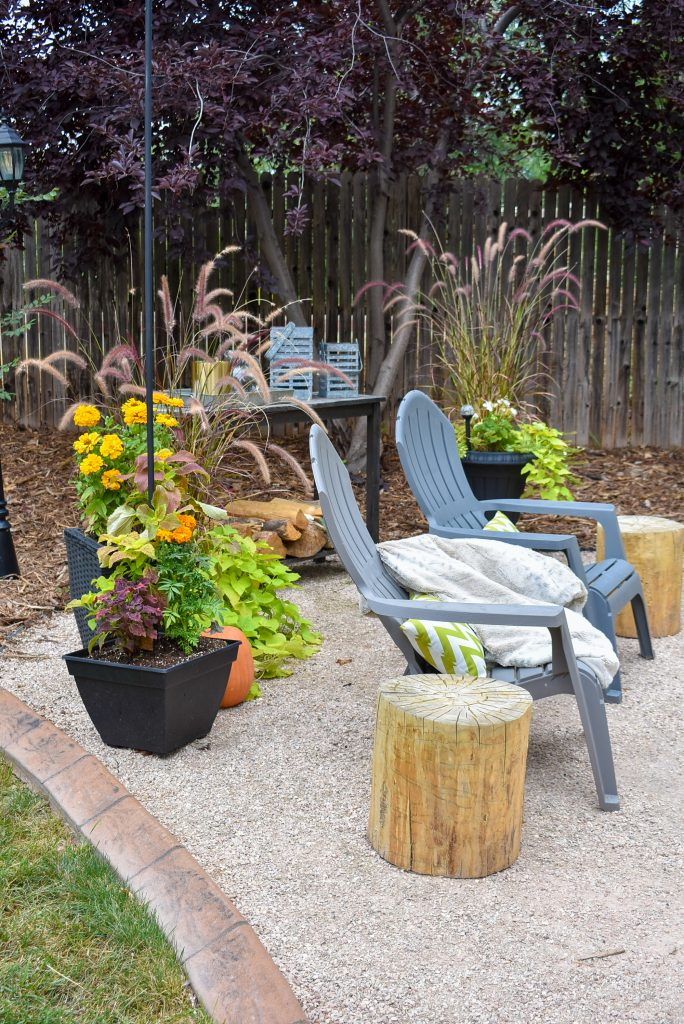 Side view of a New Cozy Firepit Area for Fall
