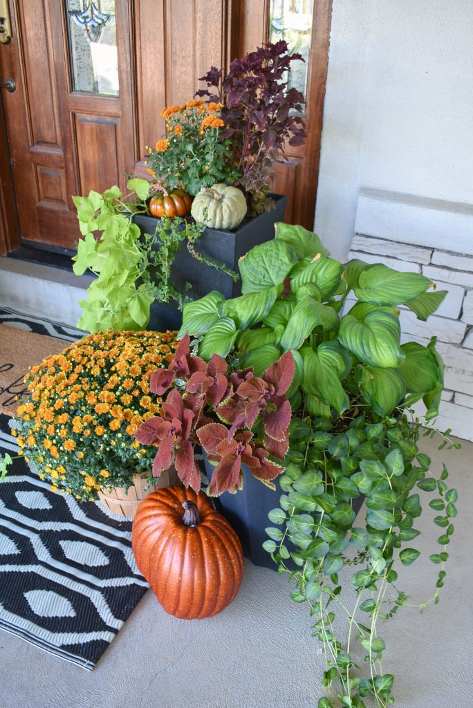 Fall Planter Pots on a front porch decorated for fall
