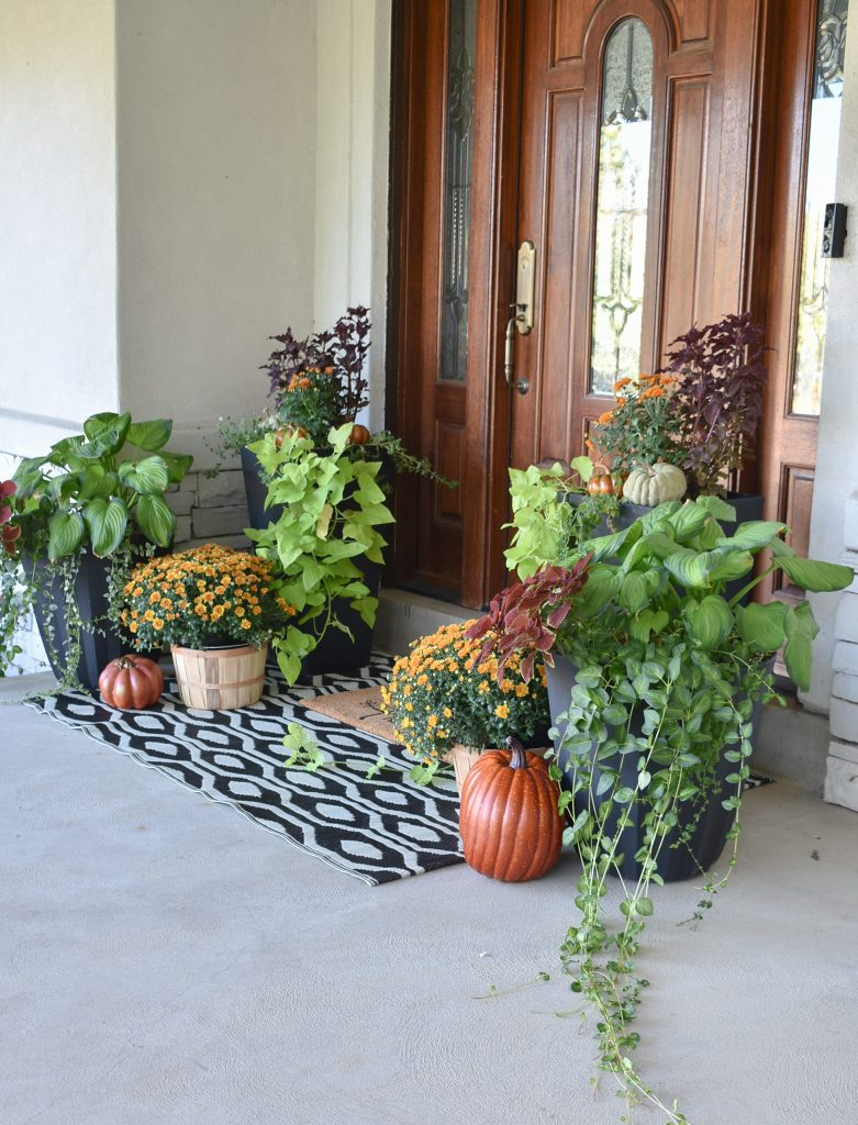 Front porch decorated for fall with planter pots