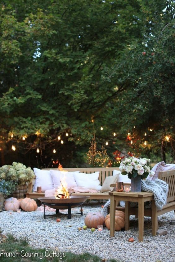 A cozy outdoor space with string lighting